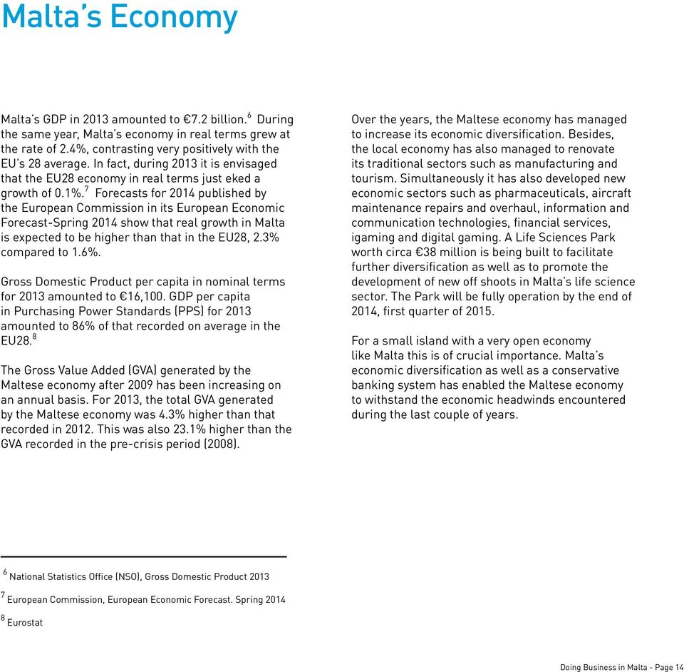 7 Forecasts for 2014 published by the European Commission in its European Economic Forecast-Spring 2014 show that real growth in Malta is expected to be higher than that in the EU28, 2.