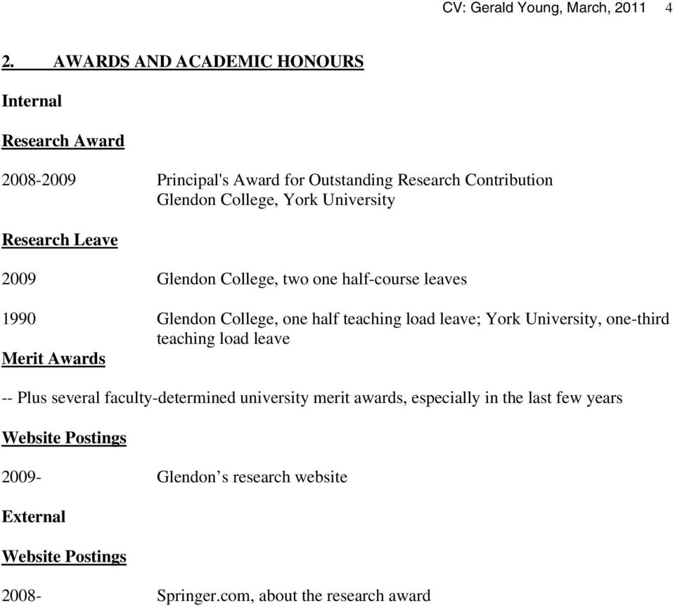 University Research Leave 2009 Glendon College, two one half-course leaves 1990 Glendon College, one half teaching load leave; York University,