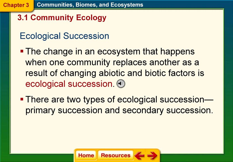 changing abiotic and biotic factors is ecological succession.