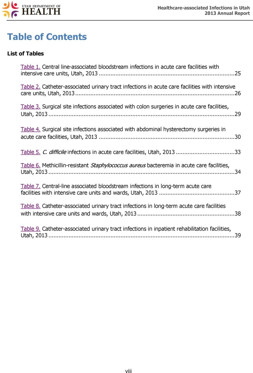 Surgical site infections associated with colon surgeries in acute care facilities, Utah, 2013... 29 Table 4.
