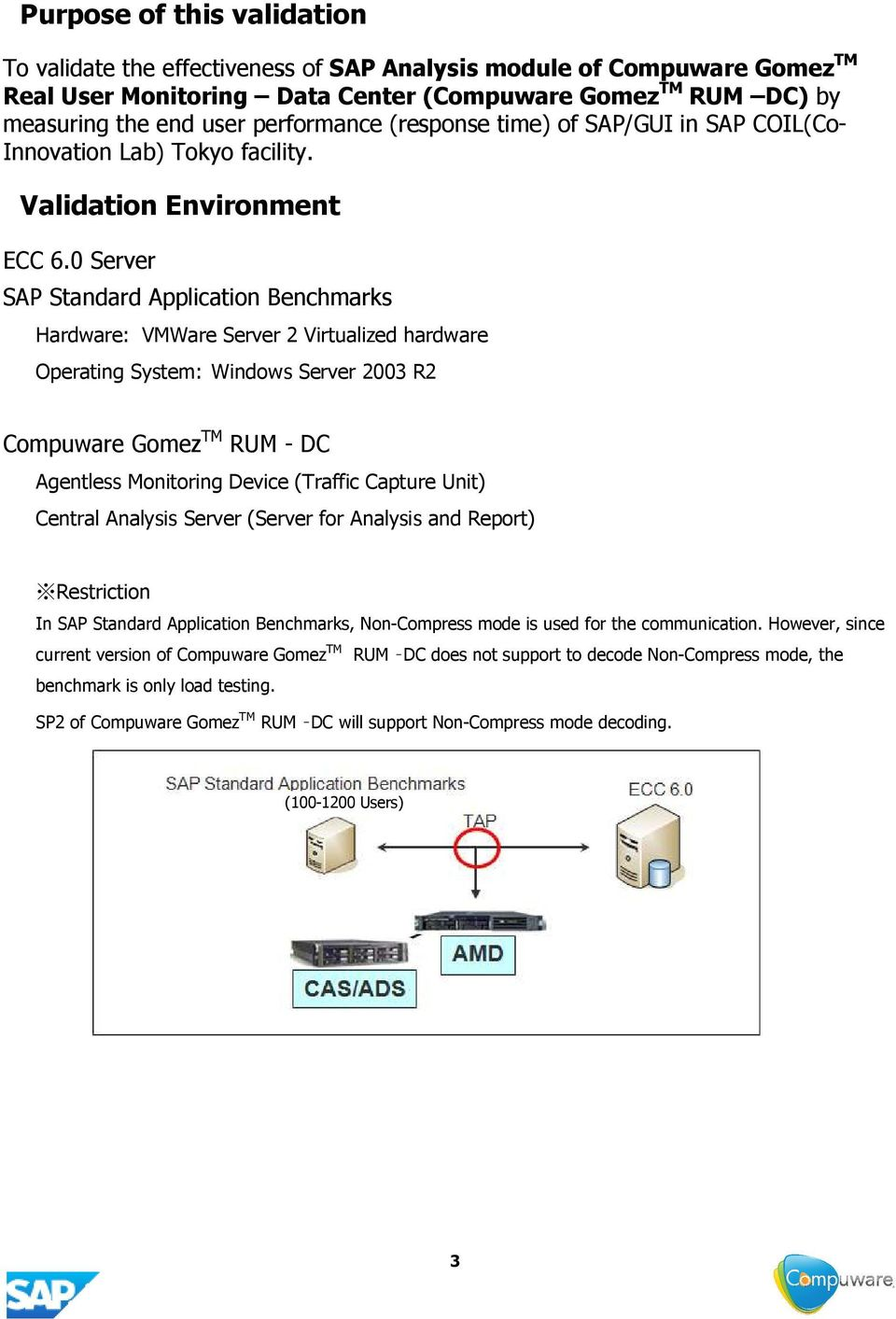 0 Server SAP Standard Application Benchmarks Hardware: VMWare Server 2 Virtualized hardware Operating System: Windows Server 2003 R2 Compuware Gomez TM RUM - DC Agentless Monitoring Device (Traffic