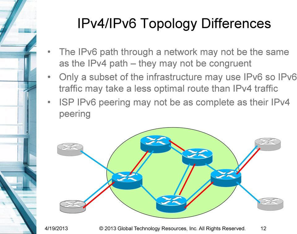 traffic may take a less optimal route than IPv4 traffic ISP IPv6 peering may not be as