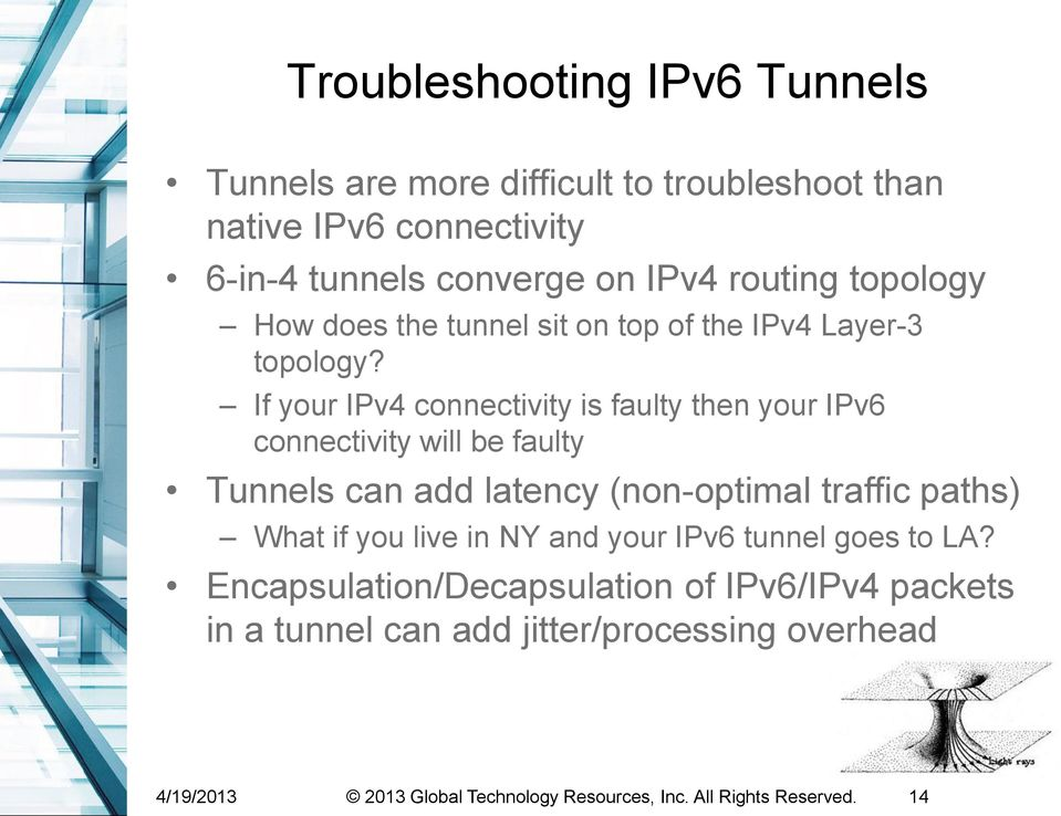 If your IPv4 connectivity is faulty then your IPv6 connectivity will be faulty Tunnels can add latency (non-optimal traffic paths) What if