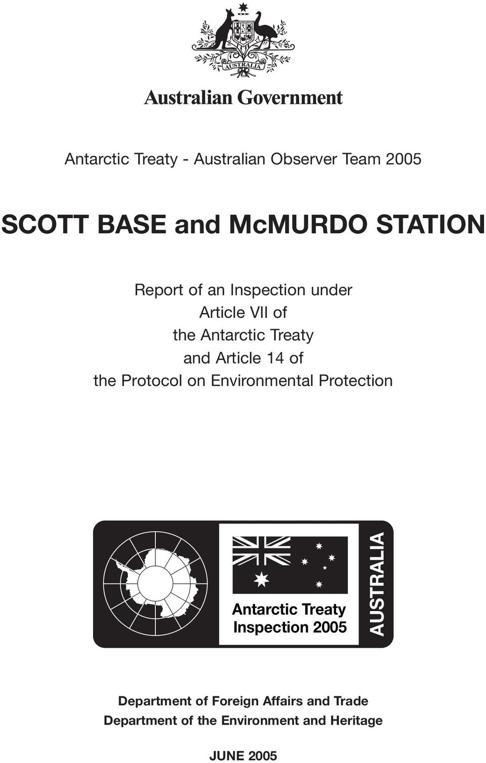 the Protocol on Environmental Protection Antarctic Treaty Inspection 2005 AUSTRALIA