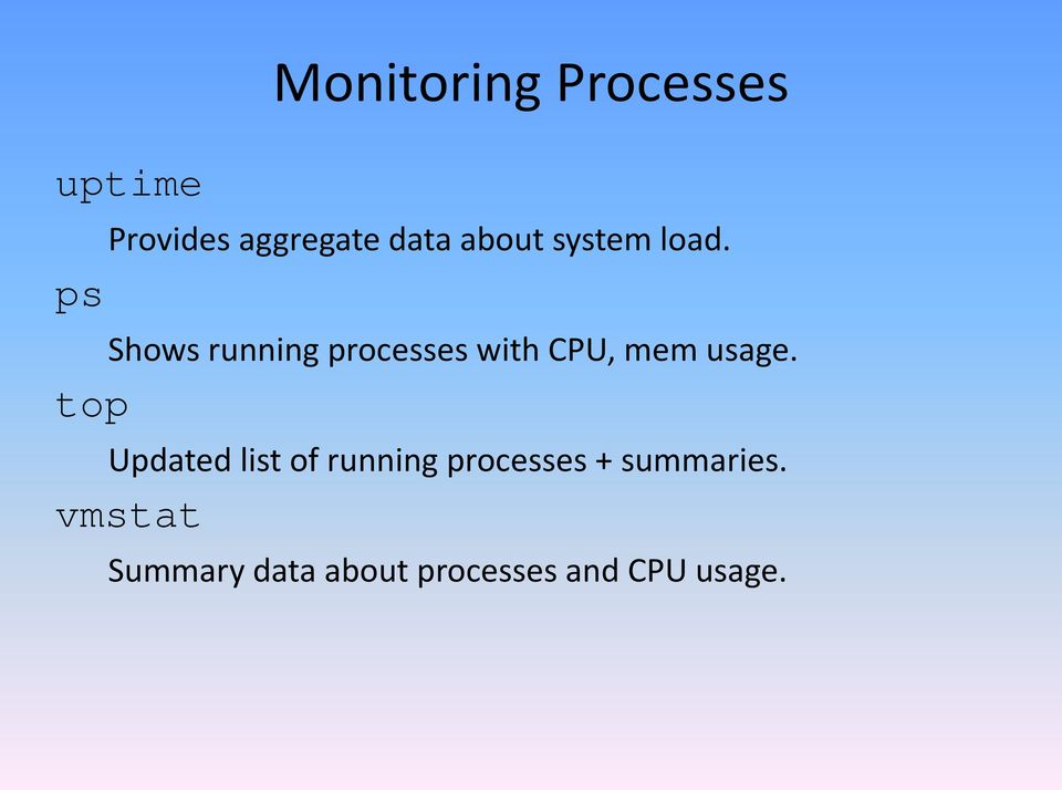 ps Shows running processes with CPU, mem usage.