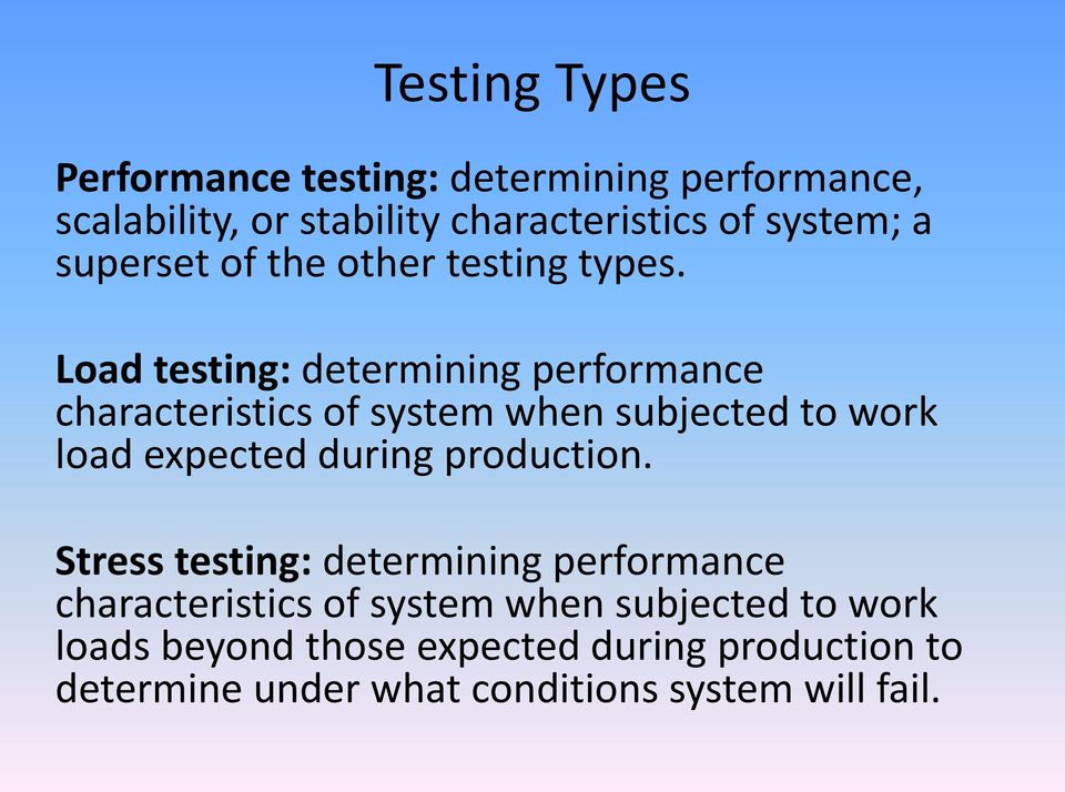 Load testing: determining performance characteristics of system when subjected to work load expected during