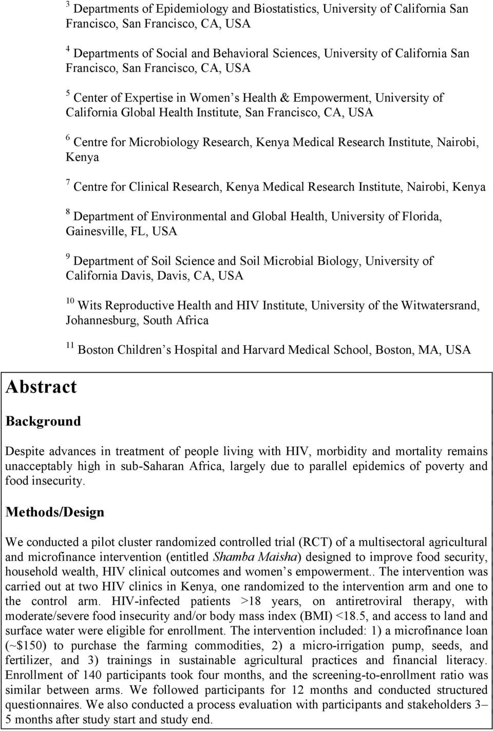 Kenya Medical Research Institute, Nairobi, Kenya 7 Centre for Clinical Research, Kenya Medical Research Institute, Nairobi, Kenya 8 Department of Environmental and Global Health, University of