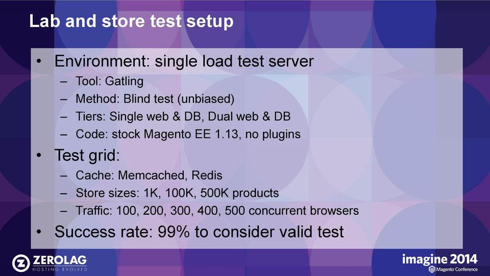 13, no plugins Test grid: Cache: Memcached, Redis Store sizes: 1K, 100K, 500K products