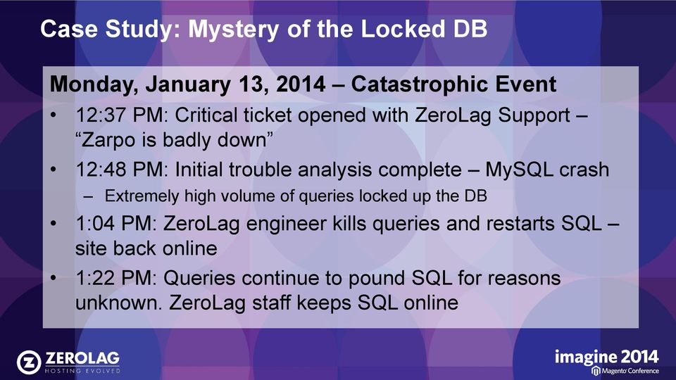 Extremely high volume of queries locked up the DB 1:04 PM: ZeroLag engineer kills queries and restarts SQL
