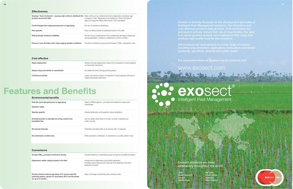 resistance developing Does not affect activity of beneficial insects in the field No risk of loss of persistence from undetected damage to dispenser during application.