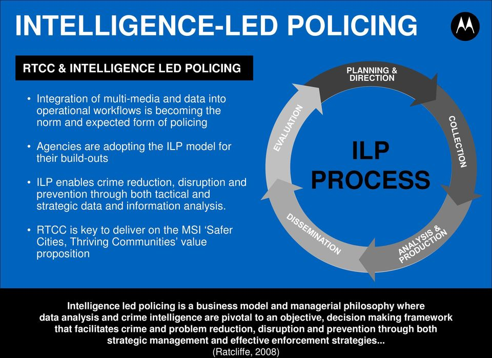 ILP PROCESS RTCC is key to deliver on the MSI Safer Cities, Thriving Communities value proposition Intelligence led policing is a business model and managerial philosophy where data analysis and