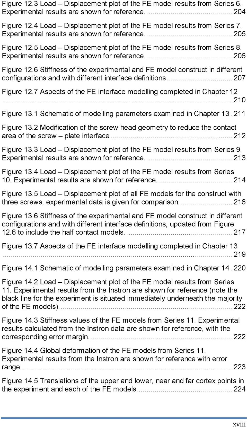 6 Stiffness of the experimental and FE model construct in different configurations and with different interface definitions... 207 Figure 12.