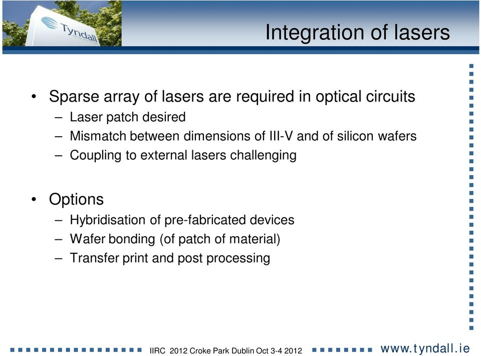 Coupling to external lasers challenging Options Hybridisation of