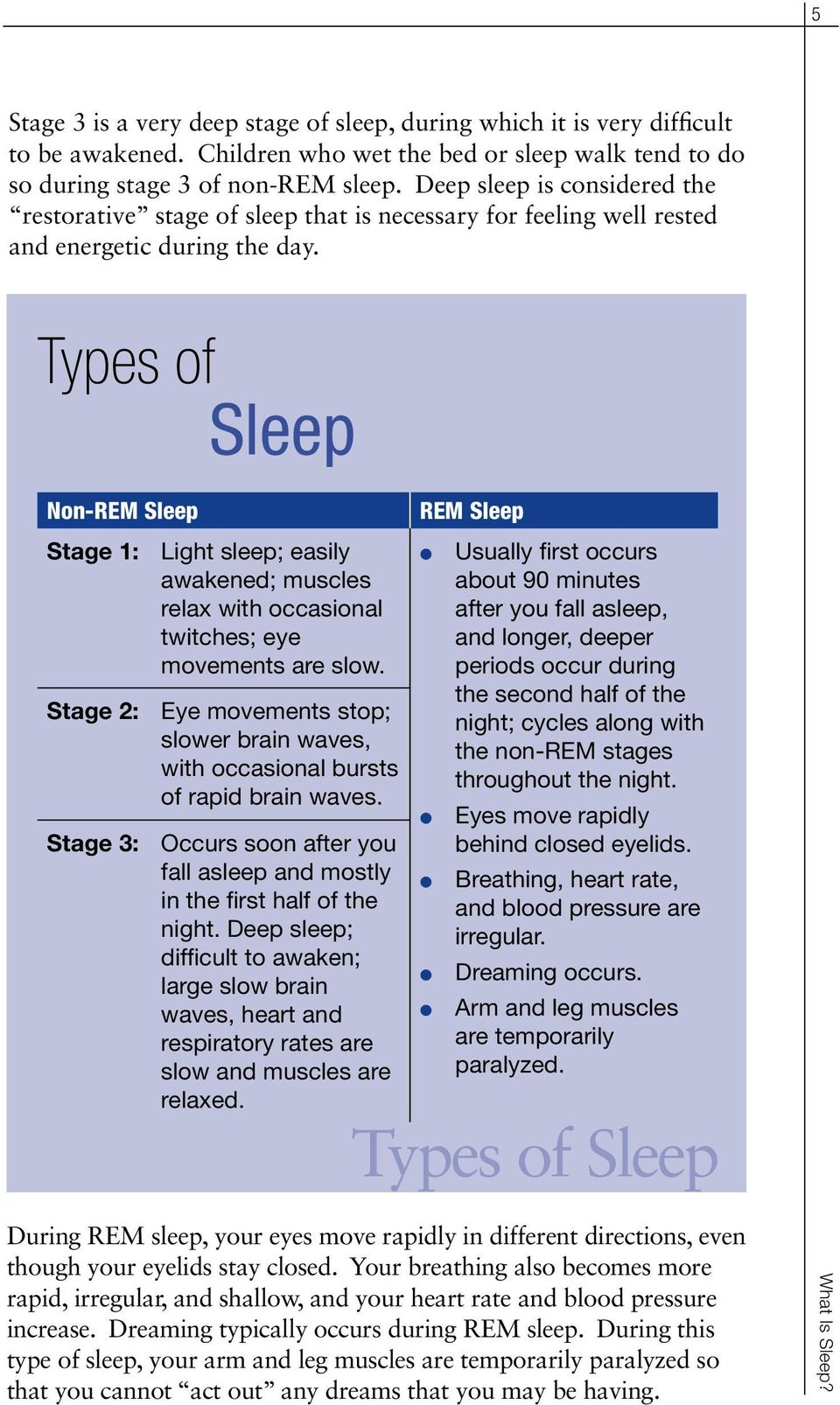 Types of Seep Non-REM Seep Stage 1: Light seep; easiy awakened; musces reax with occasiona twitches; eye movements are sow.