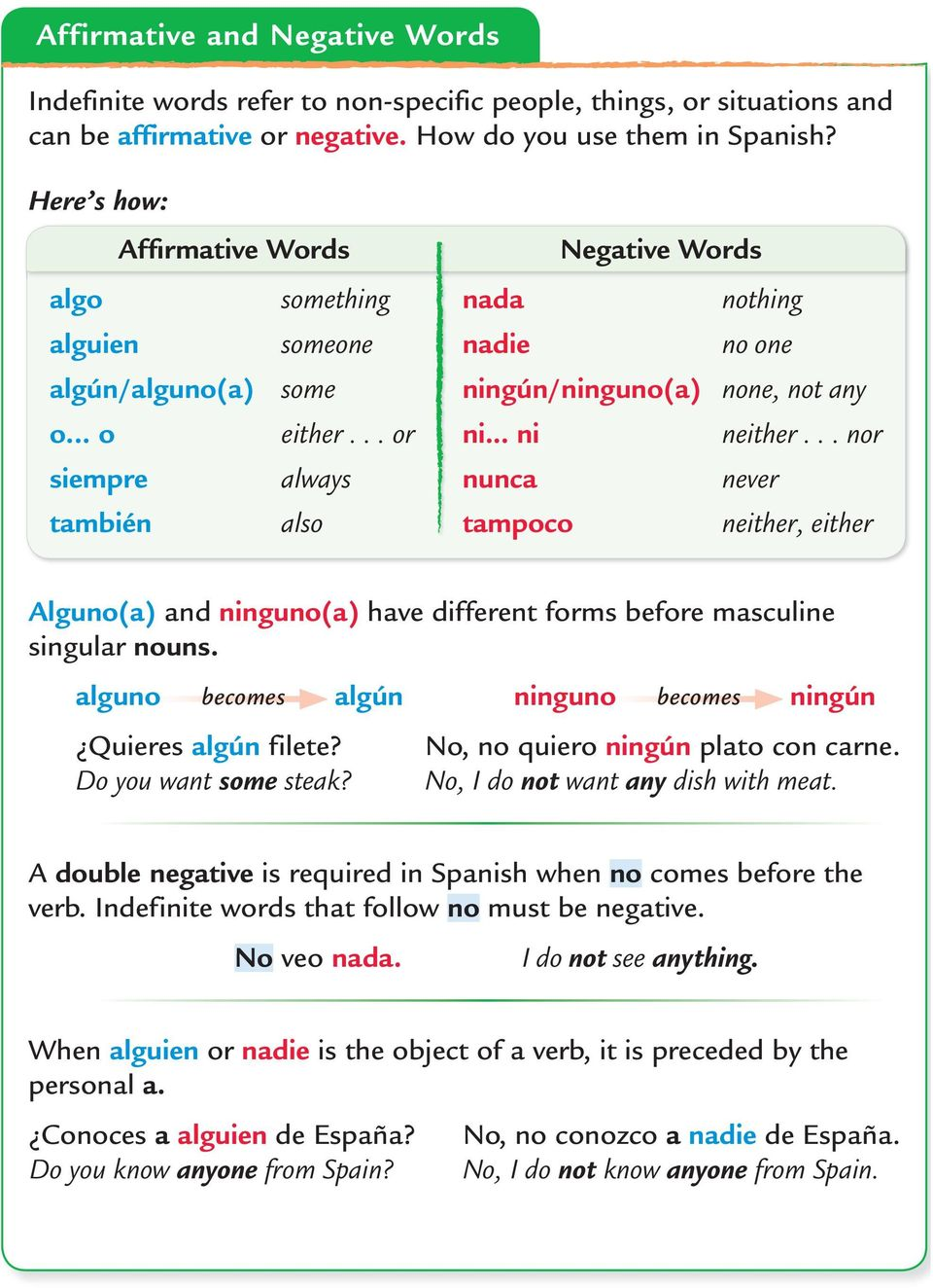 .. nor siempre always nunca never también also tampoco neither, either Alguno(a) and ninguno(a) have different forms before masculine singular nouns.