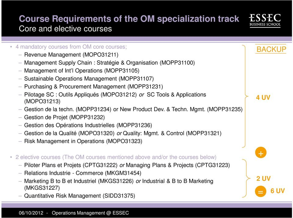 (MOPO31212) or SC Tools & Applications (MOPO31213) Gestion de la techn. (MOPP31234) or New Product Dev. & Techn. Mgmt.