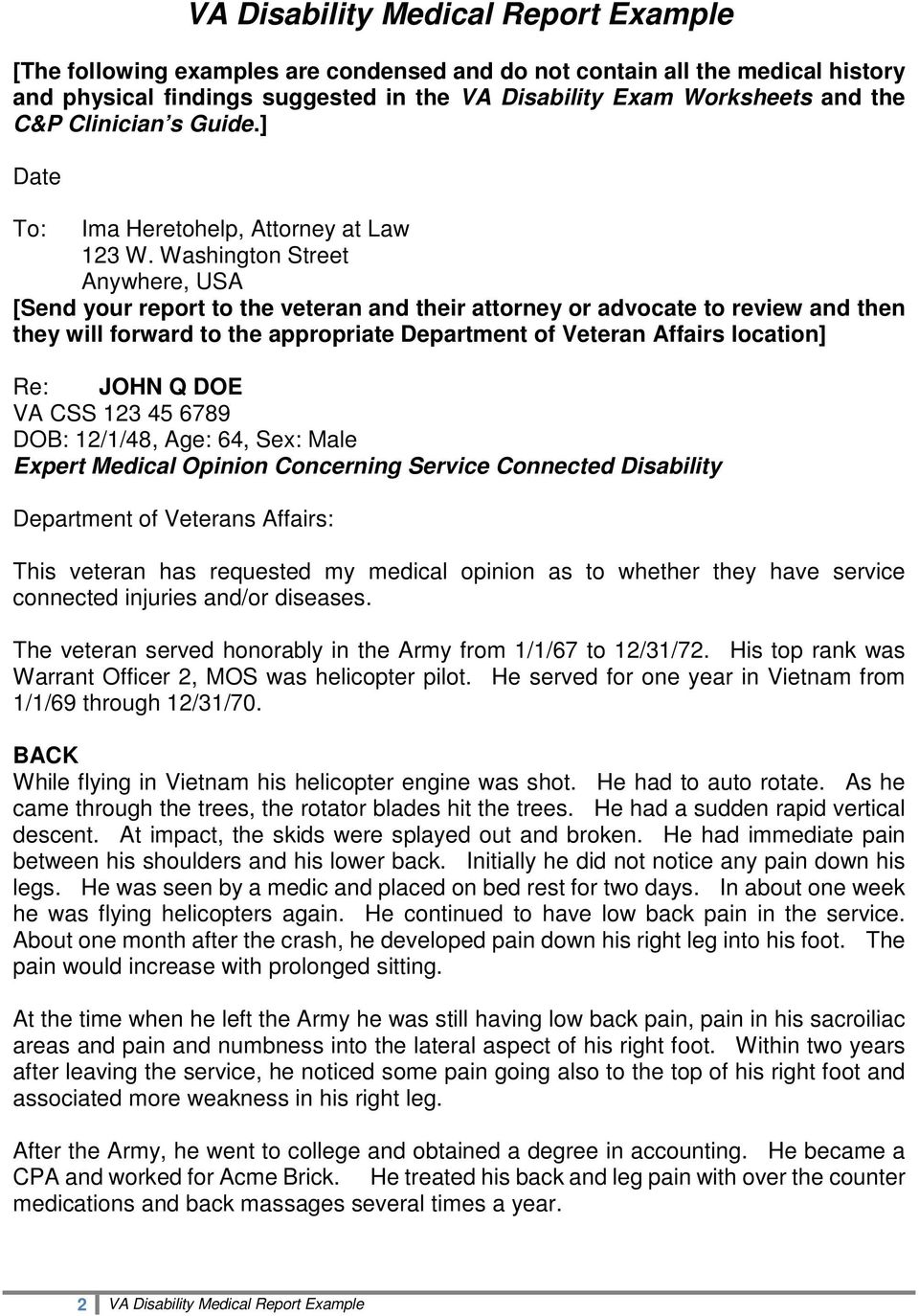 Washington Street Anywhere, USA [Send your report to the veteran and their attorney or advocate to review and then they will forward to the appropriate Department of Veteran Affairs location] Re: