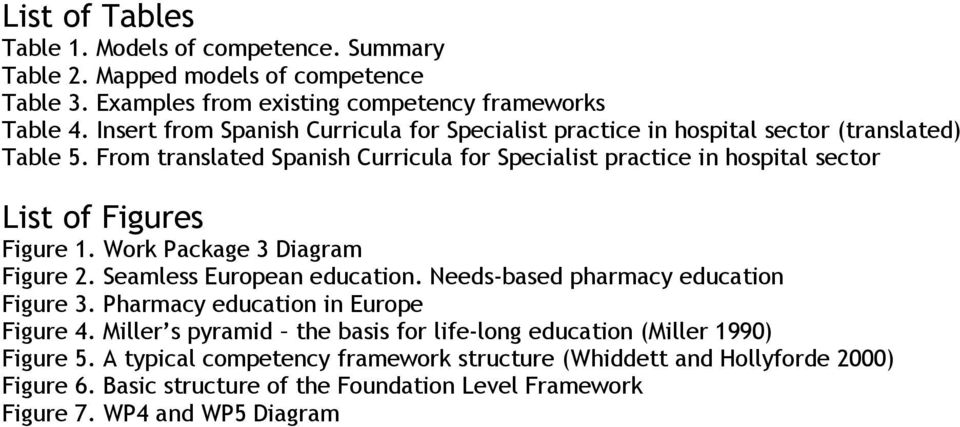 From translated Spanish Curricula for Specialist practice in hospital sector List of Figures Figure 1. Work Package 3 Diagram Figure 2. Seamless European education.
