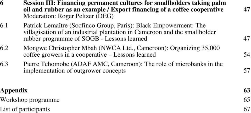 1 Patrick Lemaître (Socfinco Group, Paris): Black Empowerment: The villagisation of an industrial plantation in Cameroon and the smallholder rubber programme of