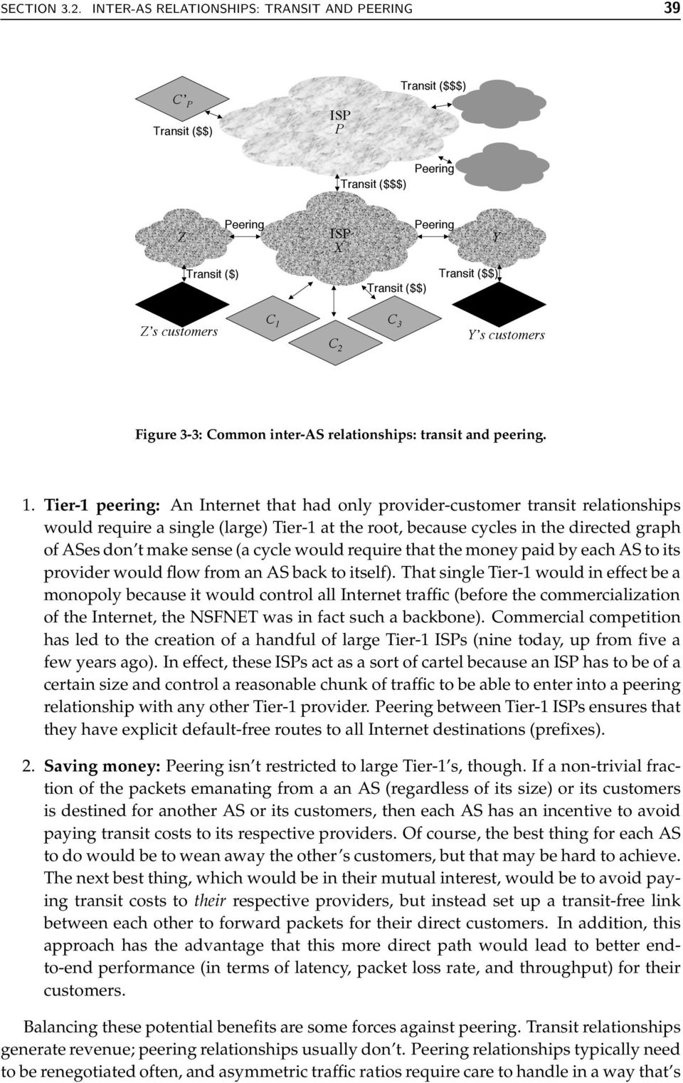 customers Figure 3-3: Common inter-as relationships: transit and peering. 1.