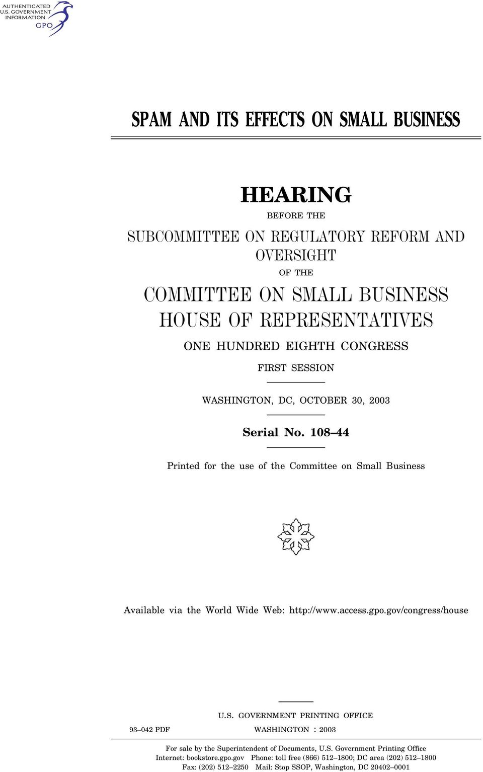gov/congress/house U.S. GOVERNMENT PRINTING OFFICE WASHINGTON 93 042 PDF : 2003 For sale by the Superintendent of Documents, U.S. Government Printing Office Internet: bookstore.gpo.