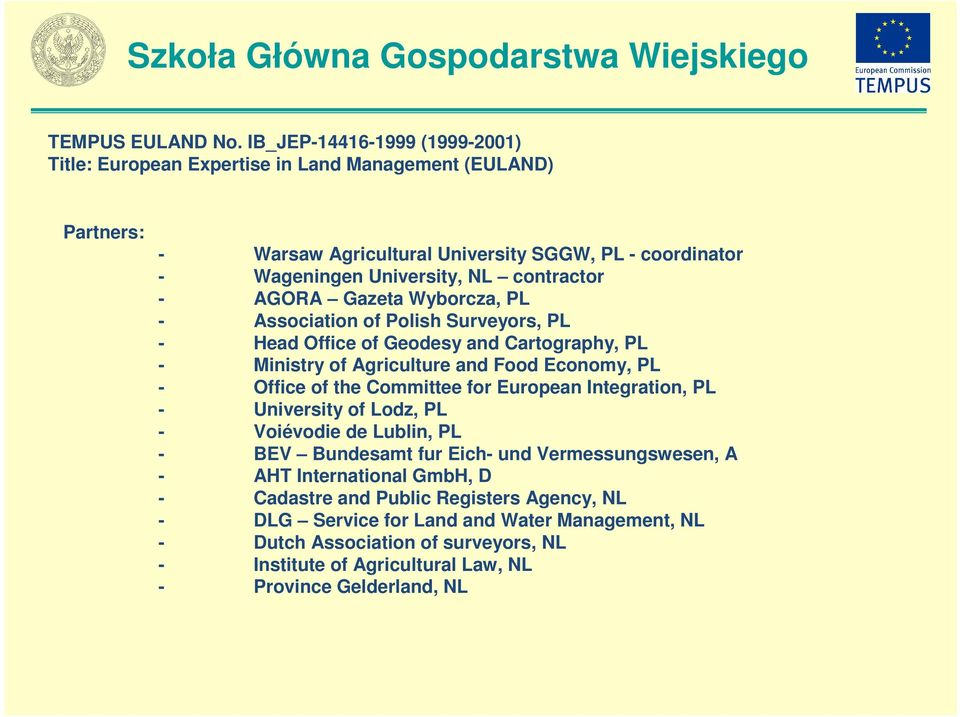 contractor - AGORA Gazeta Wyborcza, PL - Association of Polish Surveyors, PL - Head Office of Geodesy and Cartography, PL - Ministry of Agriculture and Food Economy, PL - Office of the