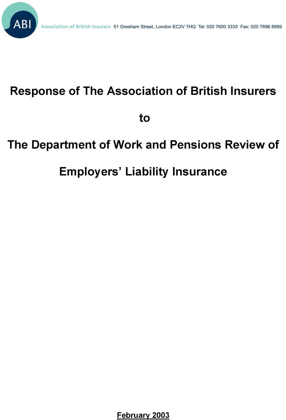 of Work and Pensions Review of