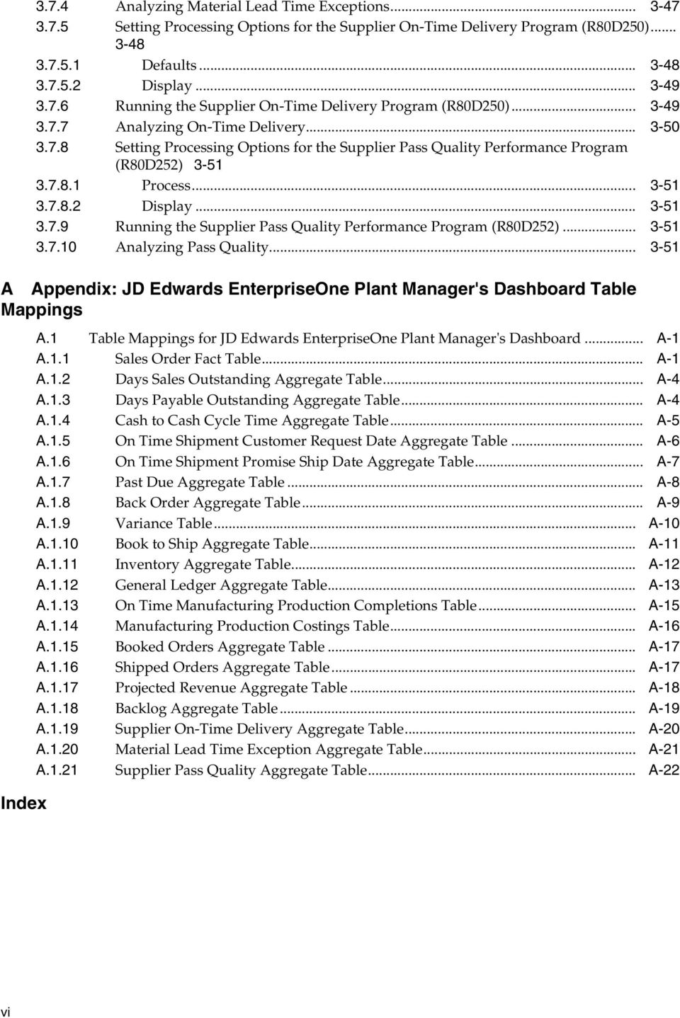 .. 3-51 3.7.10 Analyzing Pass Quality... 3-51 A Appendix: JD Edwards EnterpriseOne Plant Manager's Dashboard Table Mappings Index A.