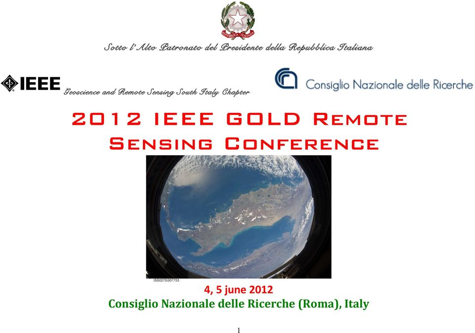 Chapter 2012 IEEE GOLD Remote Sensing Conference 4, 5