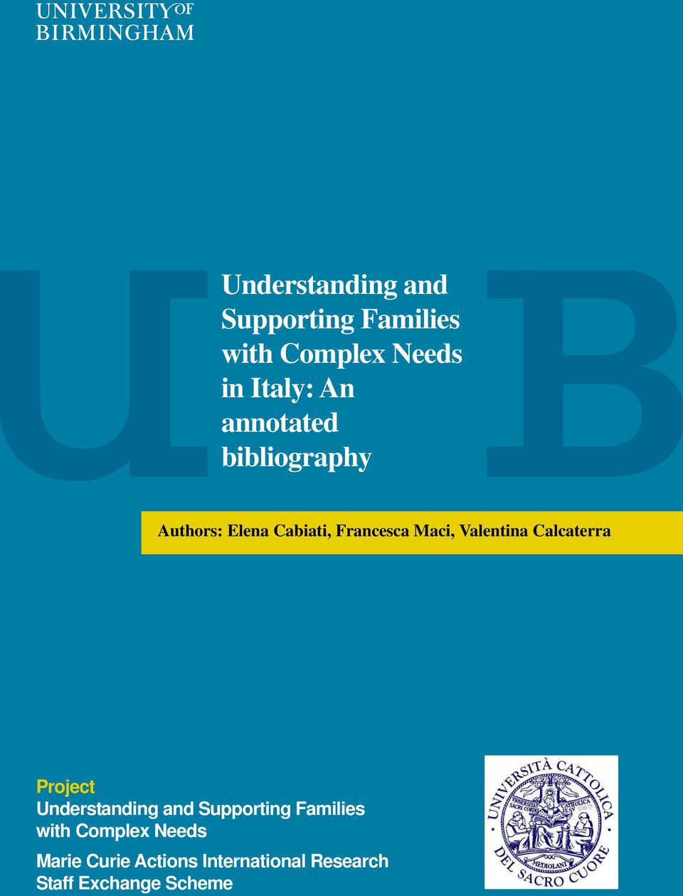 Valentina Calcaterra Project Understanding and Supporting Families