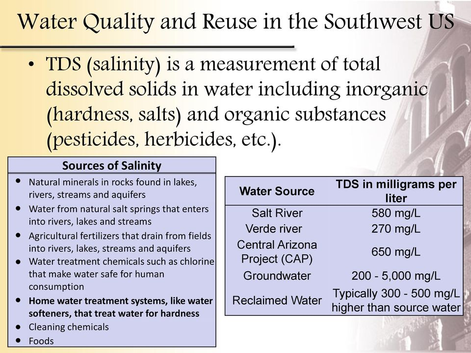 Sources of Salinity Natural minerals in rocks found in lakes, rivers, streams and aquifers Water from natural salt springs that enters into rivers, lakes and streams Agricultural fertilizers that
