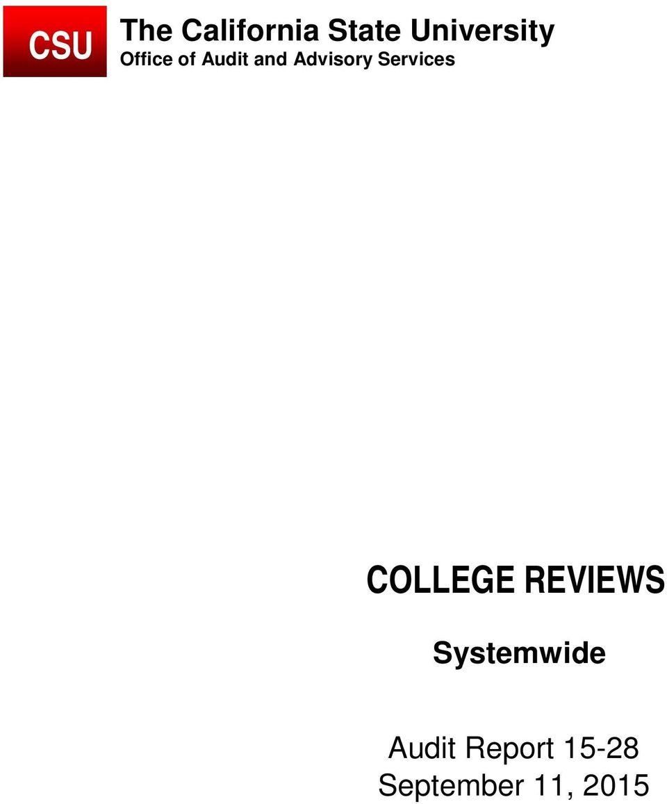 Advisory Services COLLEGE REVIEWS