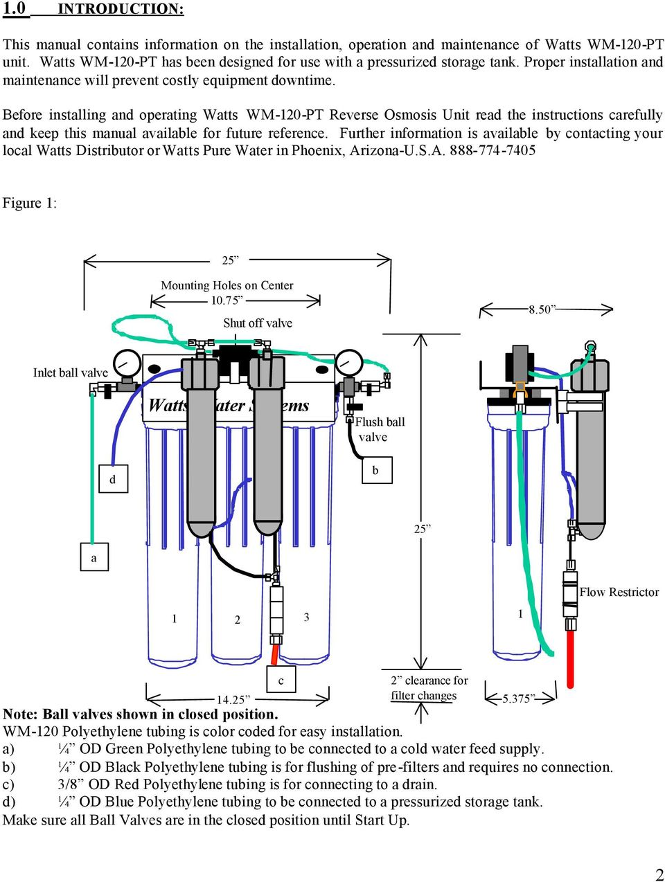 Before installing and operating Watts WM-120-PT Reverse Osmosis Unit read the instructions carefully and keep this manual available for future reference.
