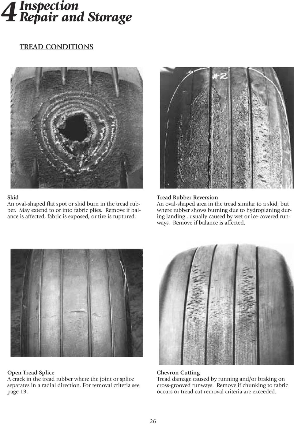 Tread Rubber Reversion An oval-shaped area in the tread similar to a skid, but where rubber shows burning due to hydroplaning during landing.