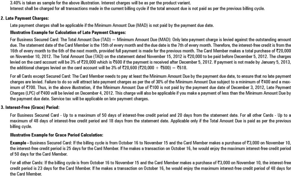 Late Payment Charges: Late payment charges shall be applicable if the Minimum Amount Due (MAD) is not paid by the payment due date.