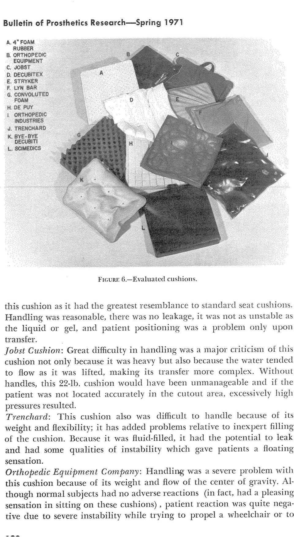 Jobst Cushion : Great difficulty in handling was a major criticism of this cushion not only because it was heavy but also because the water tended to flow as it was lifted, making its transfer more