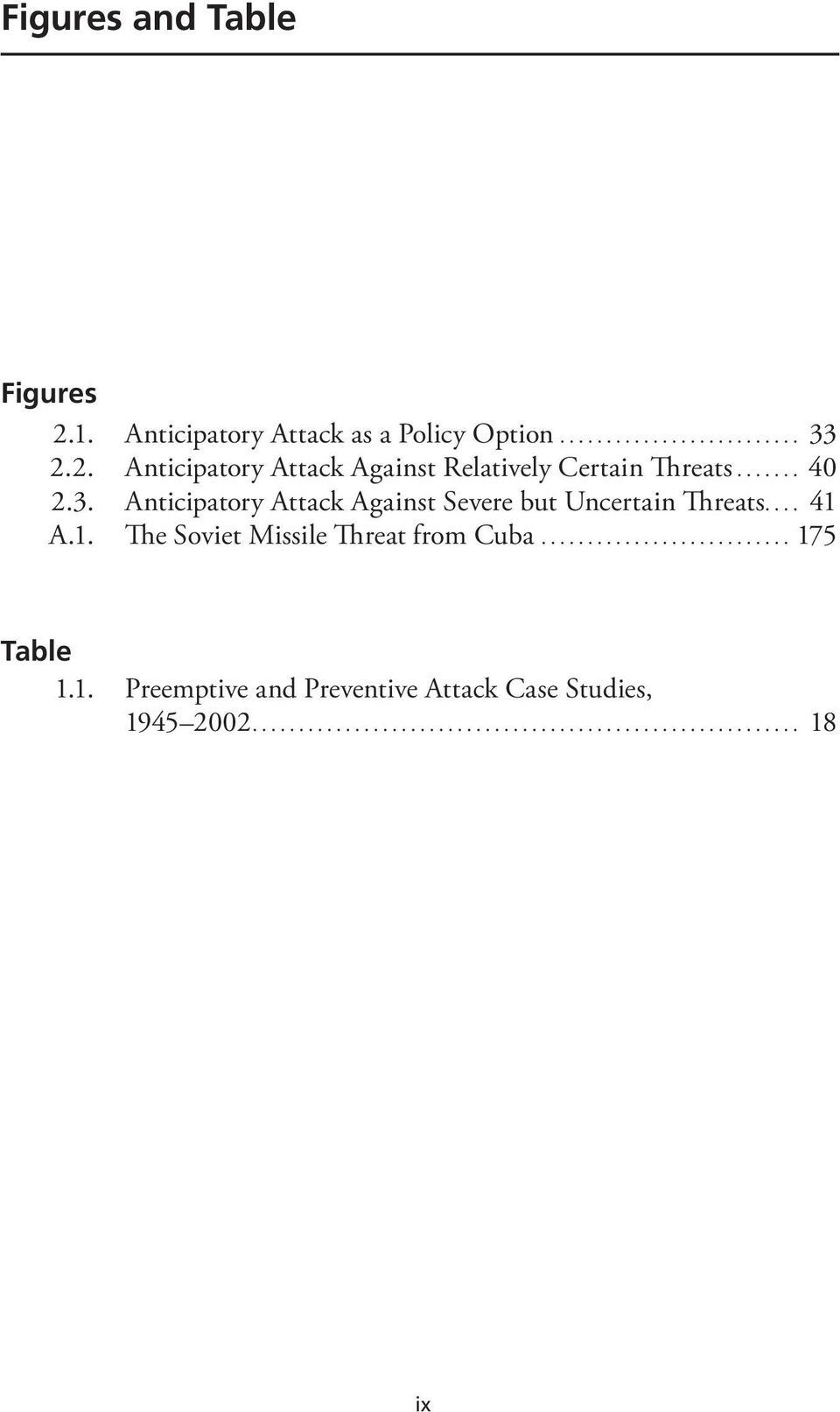 A.1. The Soviet Missile Threat from Cuba... 175 Table 1.1. Preemptive and Preventive Attack Case Studies, 1945 2002.