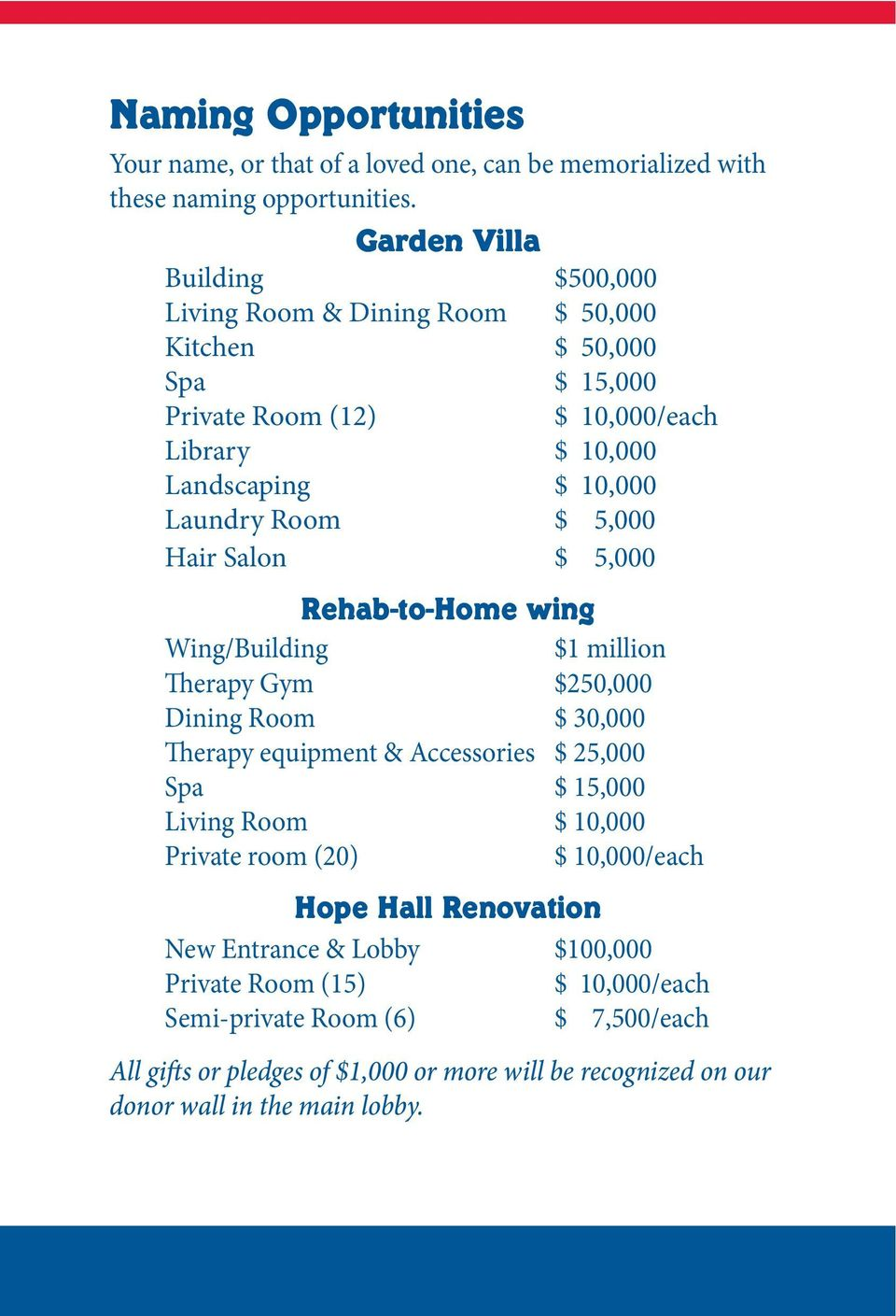 $ 5,000 Hair Salon $ 5,000 Rehab-to-Home wing Wing/Building $1 million Therapy Gym $250,000 Dining Room $ 30,000 Therapy equipment & Accessories $ 25,000 Spa $ 15,000 Living Room