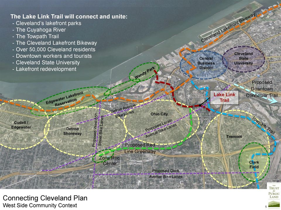Business District Cleveland State University Lake Link Trail Proposed Downtown Connector Trail Ohio City Cudell / Edgewater Detroit Shoreway