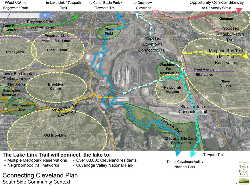 Downtown Connector Trail Washington Park Reservation Newburgh Heights Fleet Avenue Bike Lanes Kinsman Proposed Kingsbury Run Trail Morgana Run Trail to Mill Creek Reservation Slavic Village
