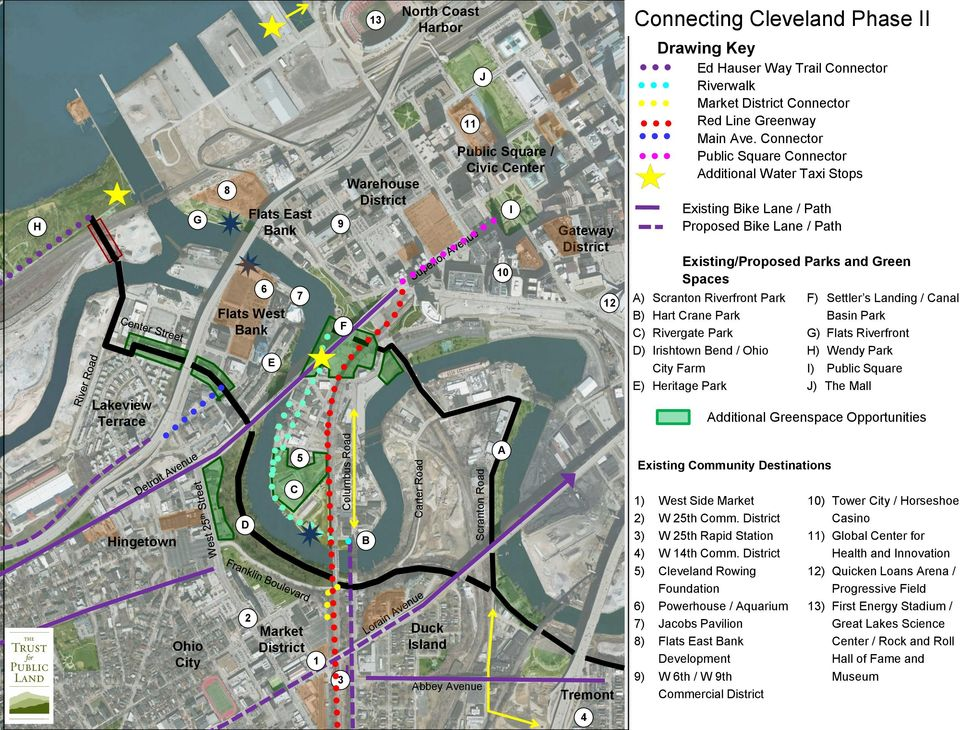 Connector Public Square Connector Additional Water Taxi Stops Existing Bike Lane / Path Proposed Bike Lane / Path Existing/Proposed Parks and Green Spaces A) Scranton Riverfront Park B) Hart Crane