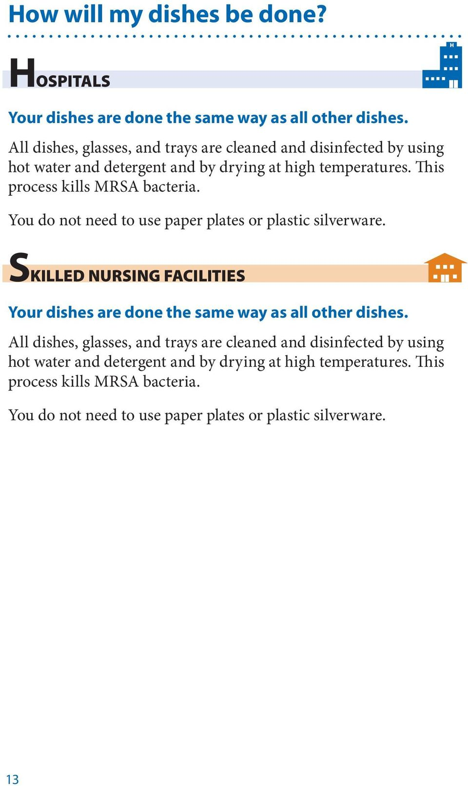 This process kills MRSA bacteria. You do not need to use paper plates or plastic silverware.