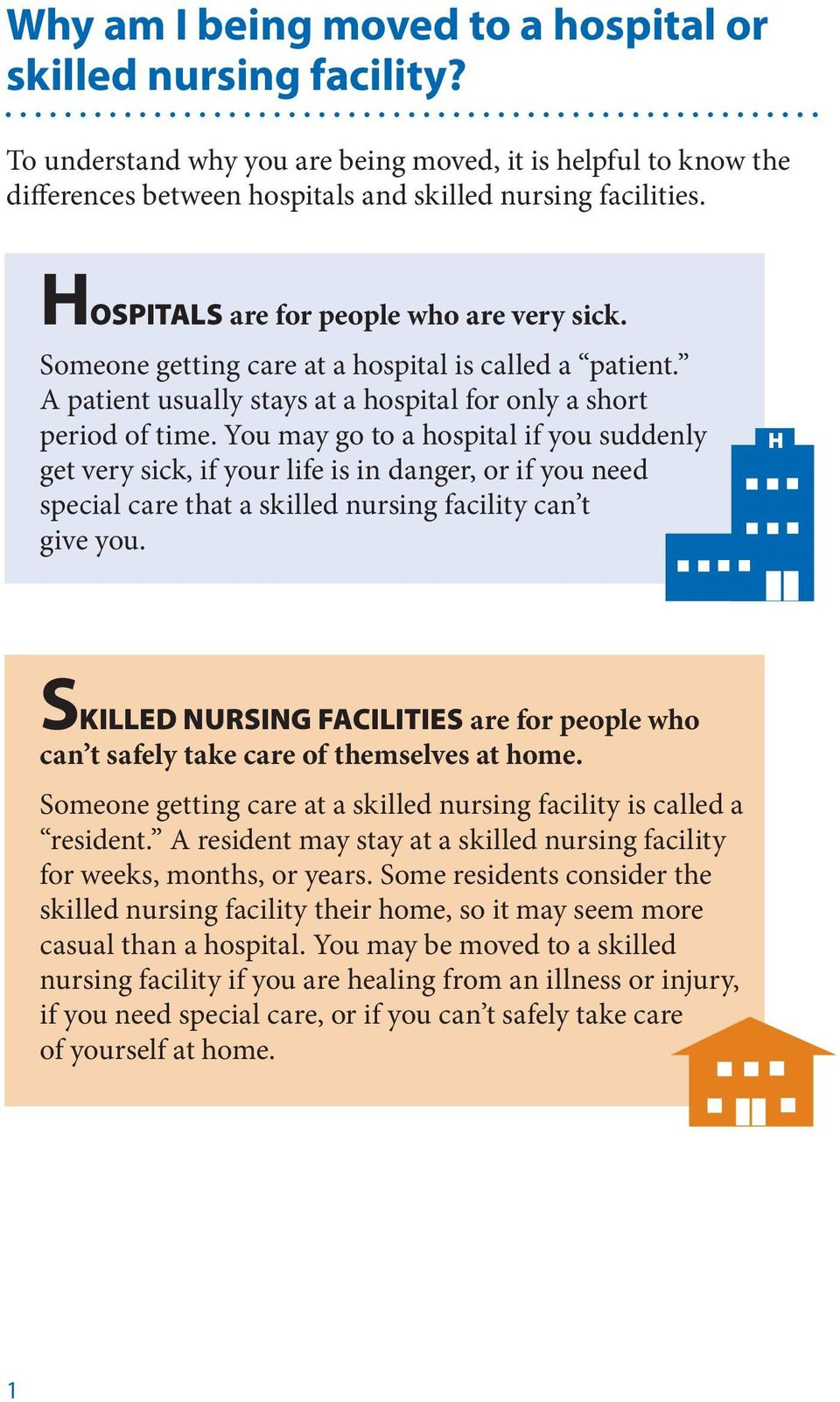 You may go to a hospital if you suddenly get very sick, if your life is in danger, or if you need special care that a skilled nursing facility can t give you.