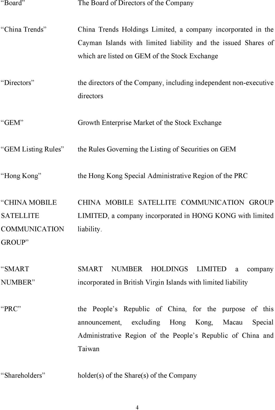 Governing the Listing of Securities on GEM Hong Kong the Hong Kong Special Administrative Region of the PRC CHINA MOBILE SATELLITE COMMUNICATION GROUP CHINA MOBILE SATELLITE COMMUNICATION GROUP