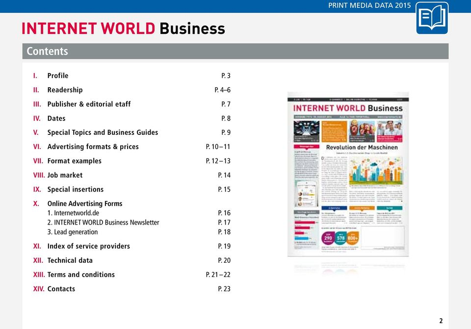 Job market P. 14 IX. Special insertions P. 15 X. Online Advertising Forms 1. Internetworld.de P. 16 2.