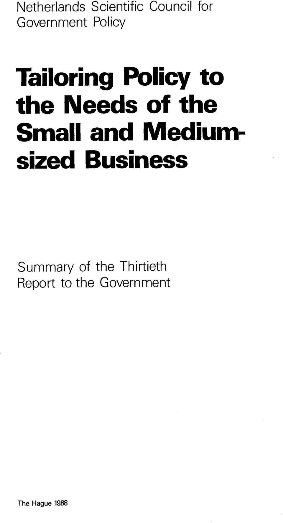 Small and Mediumsized Business Summary of the