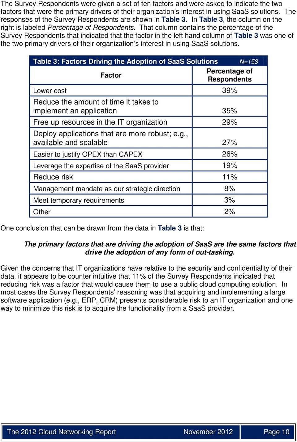 That column contains the percentage of the Survey Respondents that indicated that the factor in the left hand column of Table 3 was one of the two primary drivers of their organization s interest in