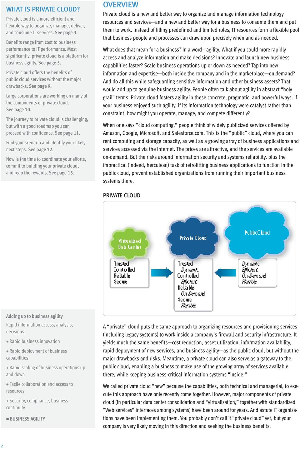 Private cloud offers the benefits of public cloud services without the major drawbacks. See page 9. Large corporations are working on many of the components of private cloud. See page 10.