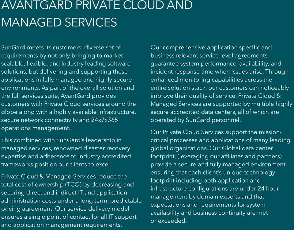 As part of the overall solution and the full services suite, AvantGard provides customers with Private Cloud services around the globe along with a highly available infrastructure, secure network