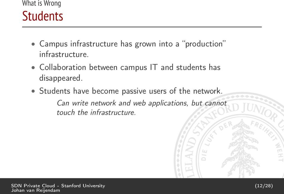 Students have become passive users of the network.
